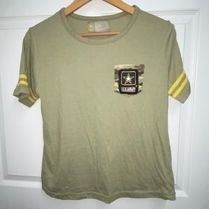 💙US Army Striped Sleeve Sand Colored TShirt